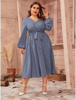 Plus Polka-dot Lantern Sleeve Belted Dress
