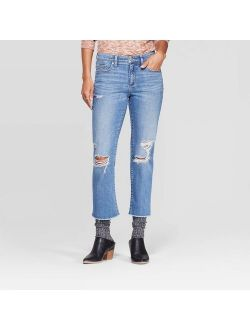 E Distressed Straight Cropped Jeans - Universal Thread Medium Blue