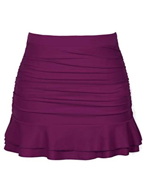 Hilor Women's Skirted Bikini Bottom High Waisted Shirred Swim Bottom Ruffle Swim Skirt