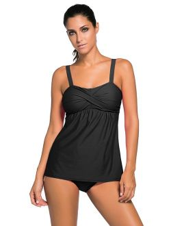 Aleumdr Women's Solid Ruched Tankini Top Swimsuit with Triangle Briefs