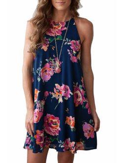Feiersi Women Halter Neck Boho Print Sleeveless Casual Mini Beachwear Dress Sundress