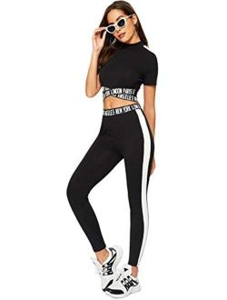 Women's 2 Pieces Outfits Cropped T Shirt And Long Pants Tracksuits Set Sportwear
