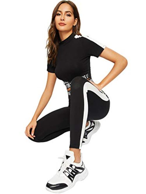 SweatyRocks Women's 2 Pieces Outfits Cropped T Shirt and Long Pants Tracksuits Set Sportwear