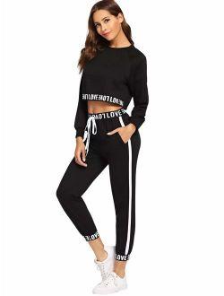Women's 2 Pieces Outfits Crop Sweatshirt And Long Pants Tracksuits Set Sportwear