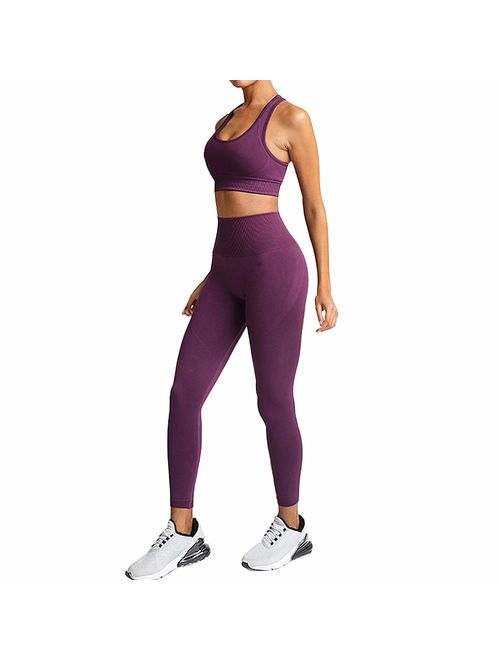 bbmee Yoga Outfits for Women 2 Piece Set,Workout High Waist Athletic Seamless Leggings and Sports Bra Set Gym Clothes