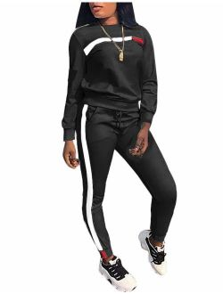 KANSOON Women Stripe Patchwork Two Piece Tracksuit Round Neck Pullover and Skinny Long Pants