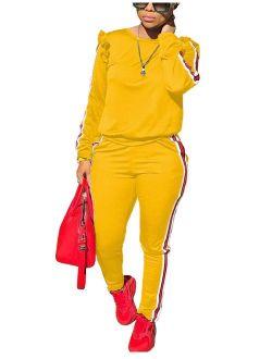 Akmipoem Women's 2 Piece Outfits Ruffle Sleeve Sweatshirt and Pants Sweatsuits Set Tracksuits
