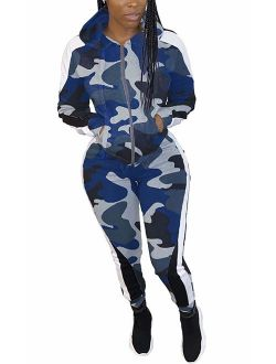 Women's Letter Print 2 Piece Outfits Jogging Suit Set Cowl Neck Long Sleeve Sweatshirt Tracksuit Plus Size