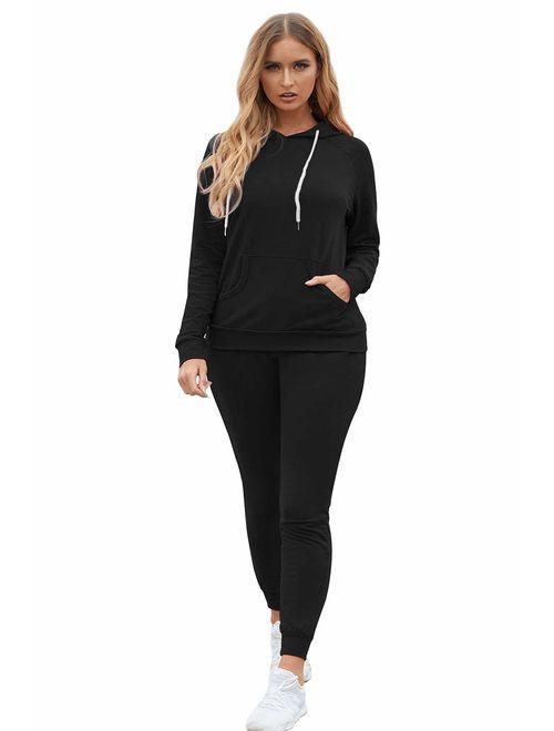 Fixmatti Women Pullover Hoodie Pockets Sweatpants Sport Jogger Sweatsuit