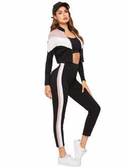 Mulimia Women's 2 Pieces Outfits Long Sleeve Zipper Stripe Color Block Sport Tracksuits Sportwear Set