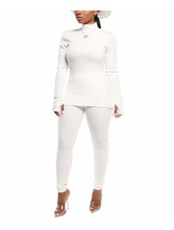 Women Two Piece Outfits Ribbed Knit Top & Pants Sets Long Sleeve Solid Color Tracksuit
