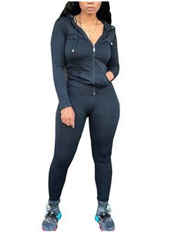 Women Sweatsuits Sets Two Piece Outfits Long Sleeve Sweatshirt and Joggers Pants Tracksuit