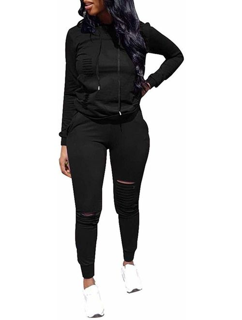 IIF Women's 2 PCS Plus Size Tracksuit Sets, Casual Ripped Hole Pullover Hoodie Sweatpants - Sport Jumpsuits Outfits Set