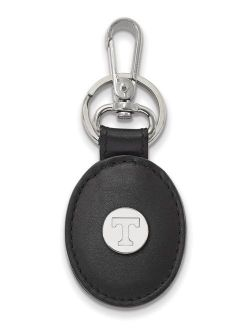 Tennessee Black Leather Oval Key Chain (Sterling Silver)