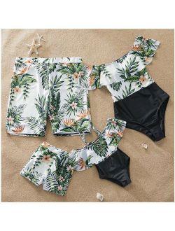 PatPat One Piece Plant Printed Family Matching Swimsuit Women Men Boy Girl Beach Swimwear
