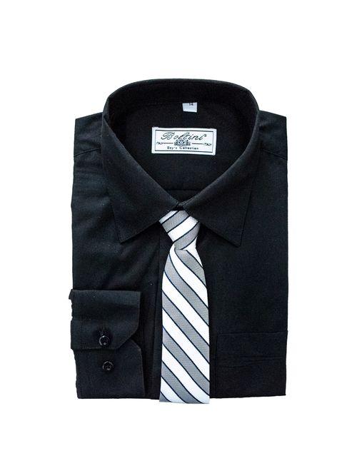 Boltini Italy Boys Kids Long Sleeve Dress Shirt Set with Tie