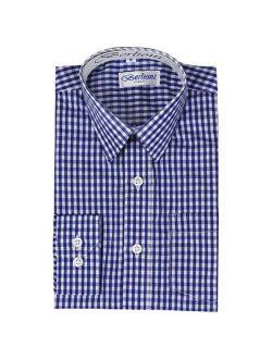 Boy's Checkered Gingham Plaid Long Sleeve Button Down Dress Shirt Royal Blue 6