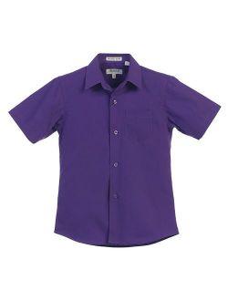 Big Boys Dark Purple Solid Color Button Down Short Sleeved Shirt