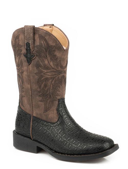Roper Caiman Kids Boys Black Faux Leather Chomp Cowboy Boots 13