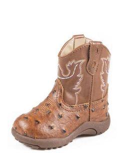 Roper Western Boots Boys Kids Ostrich Tan 09-016-1900-0807 TA