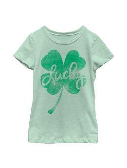 Girls' St. Patrick's Day Lucky Retro Shamrock T-Shirt