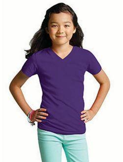 LAT Girls' V-Neck Fine Jersey T-Shirt
