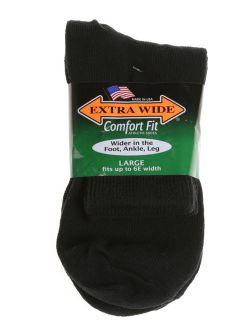 Extra Wide Athletic Quarter Socks for Men (3 Pack) (11-16 (up to 6E wide), Black)