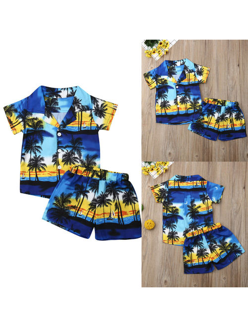 Hirigin 2PCS Toddler Boys Hawaiian Camp Shirt Shorts Pants Outfits Set Summer Clothes