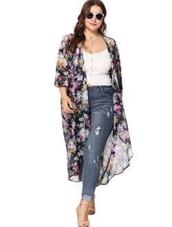 Women's Plus Size Floral Print Sheer Beach Long Kimono Cardigan Cover Up