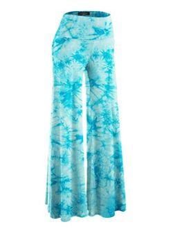 Women's Solid/tie-dye Casual Comfy Wide Leg Palazzo Lounge Pants Gaucho (s~3xl)