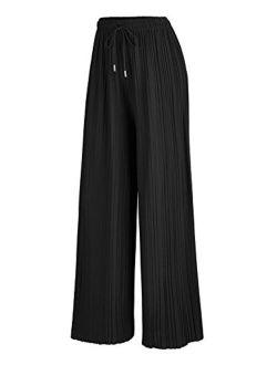 Women's Premium Pleated Maxi Wide Leg Palazzo Pants Gaucho- High Waist With Drawstring