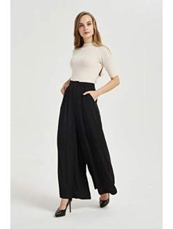 Tronjori Women High Waist Casual Wide Leg Long Palazzo Pants Trousers