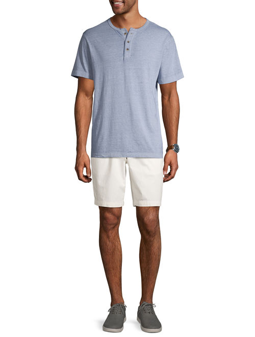George Men's and Big Men's Short Sleeve Fashion Henley, Up To Size 3XL