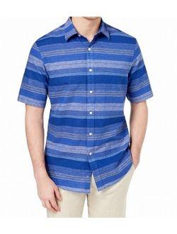 Mens Striped Linen Button Down Shirt 2XL