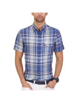 Mens Linen Plaid Button Up Shirt