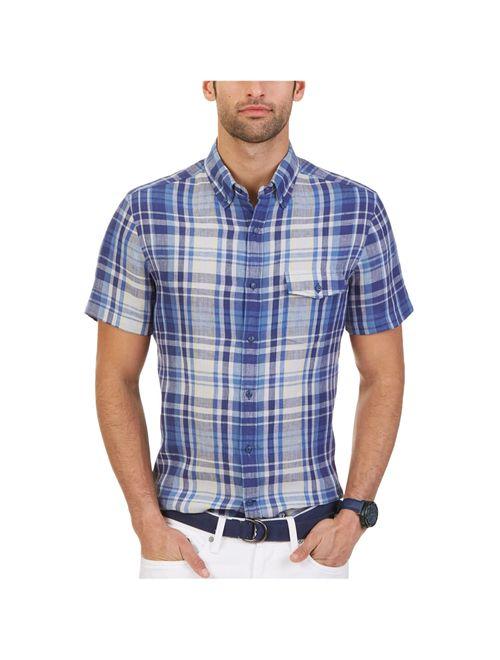 nautica mens linen plaid button up shirt