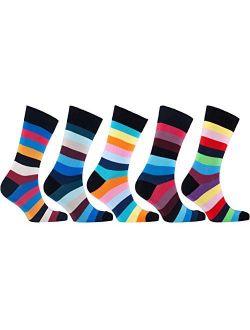 Socks n Socks - Men's 5-pairs Luxury Cotton Cool Funky Colorful Fashion Designer Fun Striped Dress Socks with Gift Box