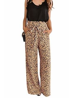 Uncinba Womens High Waist Leopard Print Palazzo Pants Tie Knot Wide Leg Paper Bag Trousers with Pockets