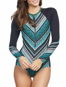 Aleumdr Womens Long Sleeve Rash Guard Printed Zipper Surfing One Piece Swimsuit Bathing Suit