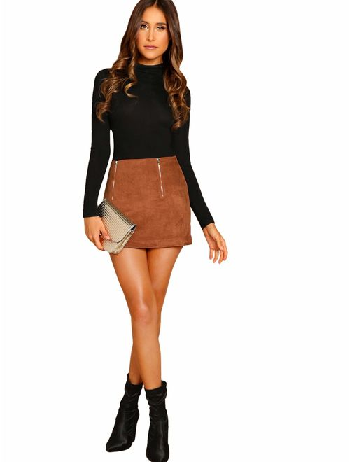 Floerns Womens Solid Bodycon Faux Suede Mini Skirt