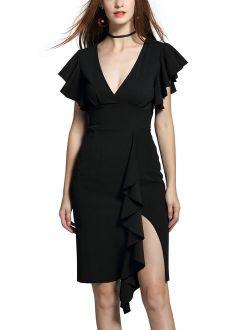 Women's Deep-V Neck Ruffle Sleeveless Cocktail Party Pencil Dress