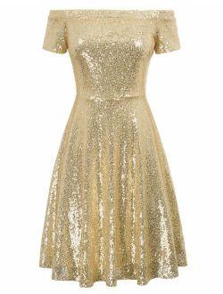 Women's Sequin Bridesmaid Dress Short Sleeve Embellished Off Shoulder Pleated A-line Evening Dress