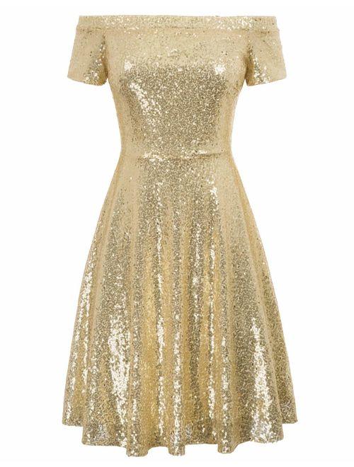 GRACE KARIN Women's Sequin Bridesmaid Dress Short Sleeve Embellished Off Shoulder Pleated A-Line Evening Dress