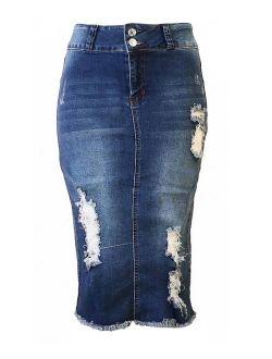 Womens Junior Plus Size Juniors below Knee Length Midi Pencil Ripped Denim Skirt