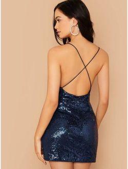 Crisscross Open Back Sequin Cami Dress