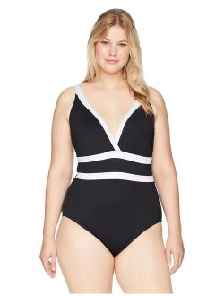 La Blanca Women's Plus Size Color Block Halter One Piece Swimsuit