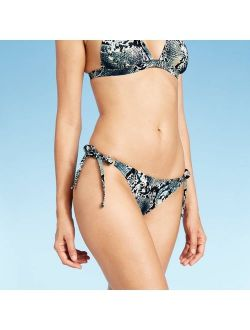 Women's Side-Tie Cheeky Bikini Bottom - Shade & Shore Blue Snake Print
