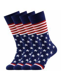 Flag Fun Dress Socks For Men,bonangel Cotton Novelty Crew Socks,groomsmen Gift Socks 2/4/6 Pairs