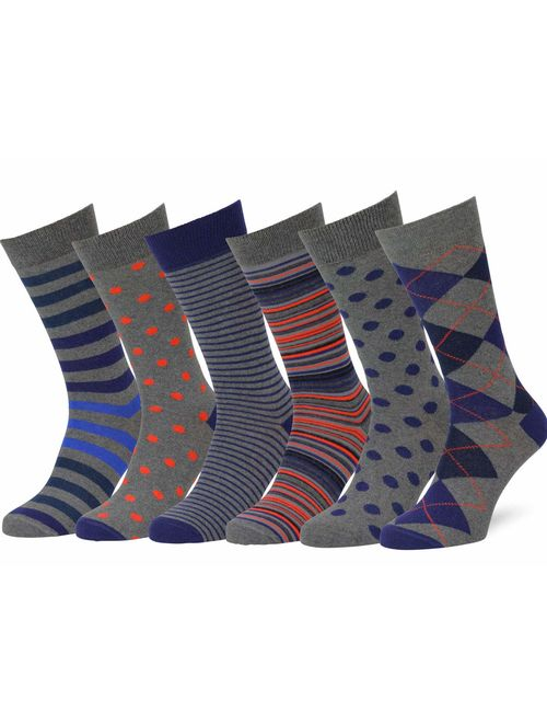 Easton Marlowe 6 Pack Colorful & Neutral Patterned Dress Socks, Fun Bright Multipack, European Made