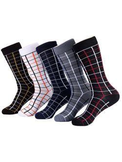 Marino Mens Patterned Dress Socks, Colorful Fun Socks, Fashion Cotton Socks - 5 Pack